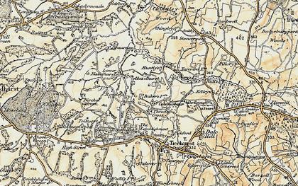 Old map of Three Leg Cross in 1898