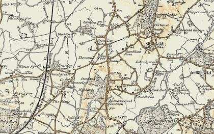 Old map of Three Mile Cross in 1897-1909