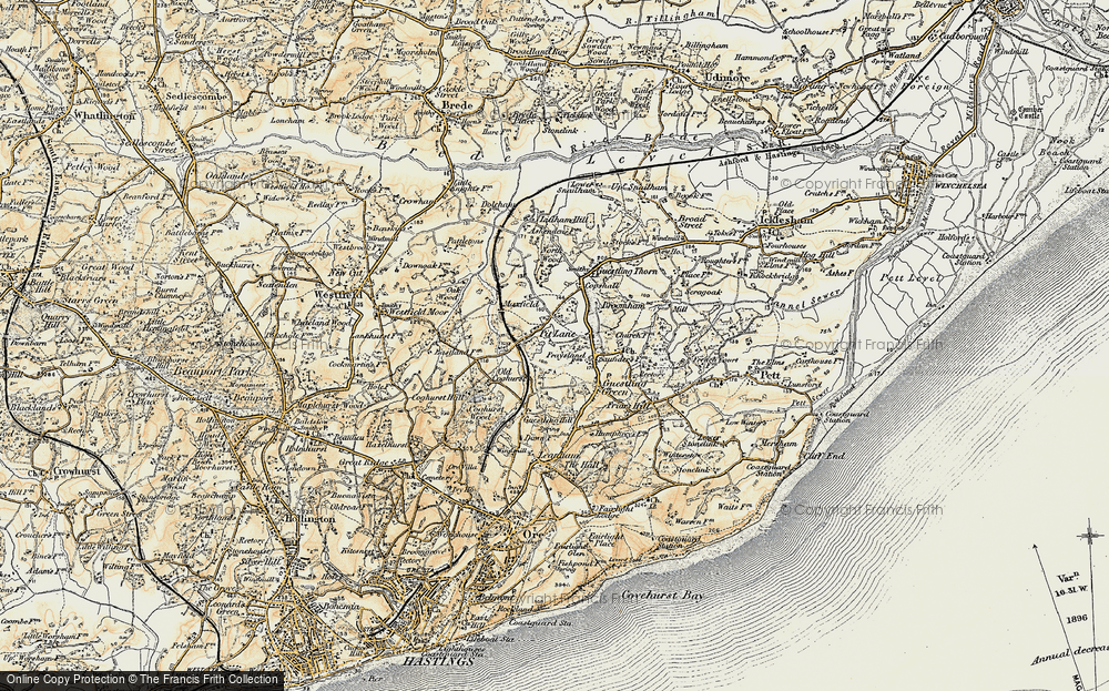 Old Map of Historic Map covering 1066 Country Walk Hastings Link in 1898
