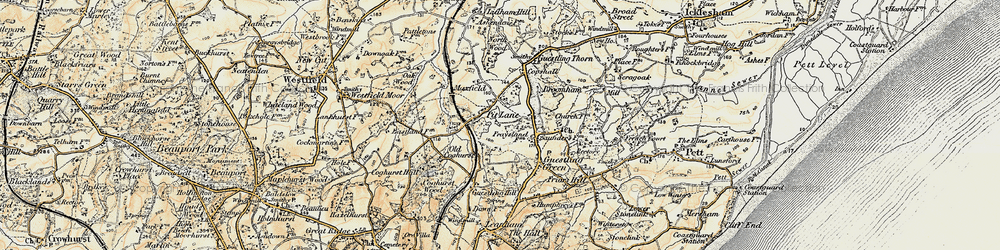 Old map of 1066 Country Walk Hastings Link in 1898