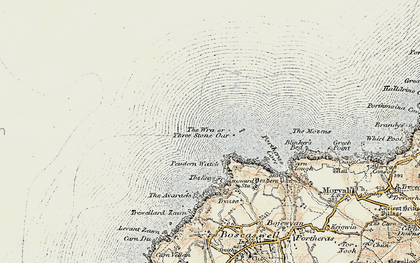 Old map of Three Stone Oar in 1900