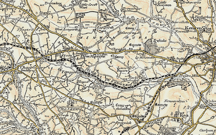 Old map of Threemilestone in 1900