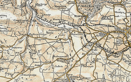 Old map of Threewaters in 1900