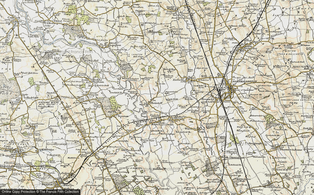 Old Map of Historic Map covering Yafforth Grange in 1903-1904