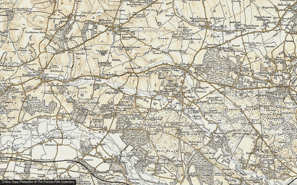 Old Map of Historic Map covering Tonerspuddle Heath in 1899-1909
