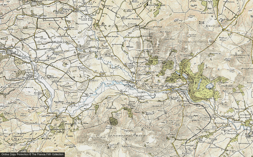 Old Map of Historic Map covering Allerdene in 1901-1903