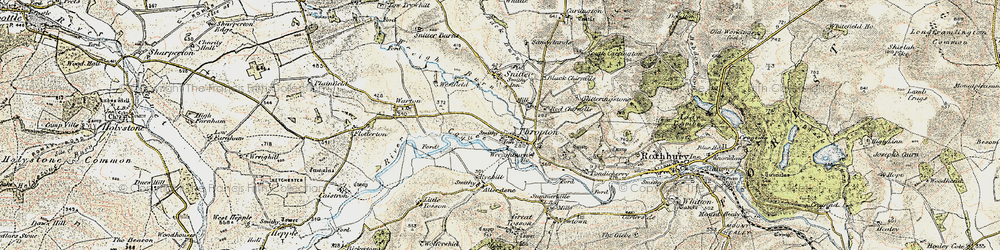 Old map of Thropton in 1901-1903
