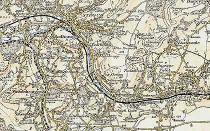 Old map of Thrupp in 1898-1900