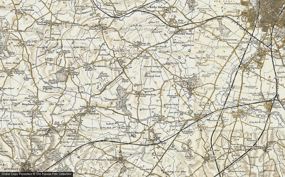 Old Map of Historic Map covering Leicester Forest West in 1901-1903
