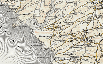 Old map of Thurlestone in 1899-1900