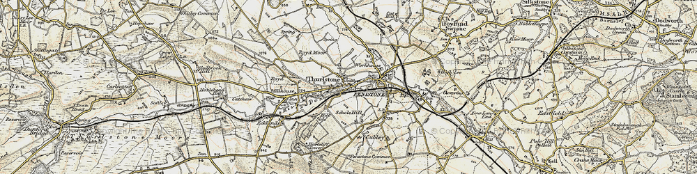 Old map of Thurlstone in 1903