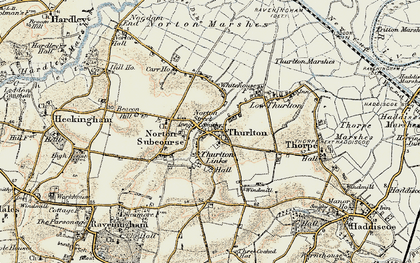 Old map of Thurlton in 1901-1902