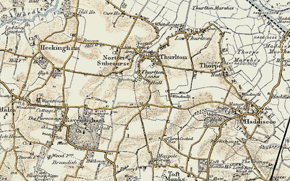 Old map of Thurlton Links in 1901-1902