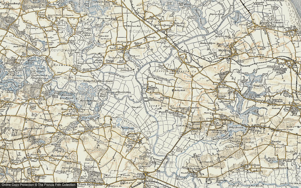 Old Map of Historic Map covering Thurne Mouth in 1901-1902