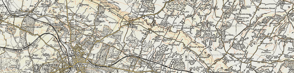 Old map of Thurnham in 1897-1898
