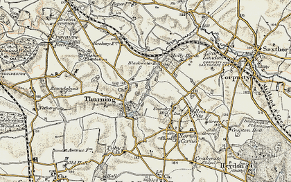 Old map of Thurning in 1901-1902