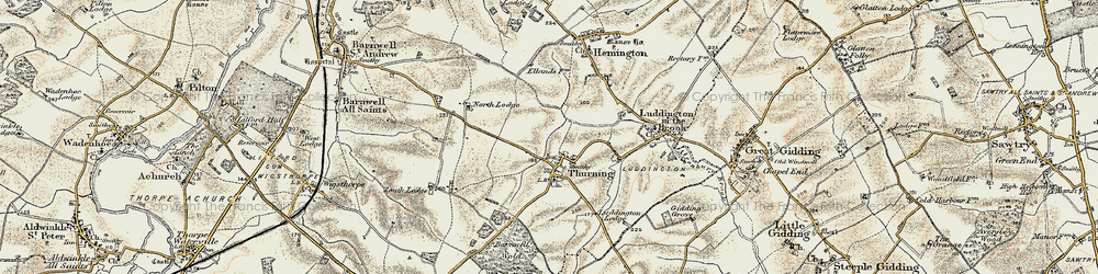 Old map of Thurning Lodge in 1901-1902