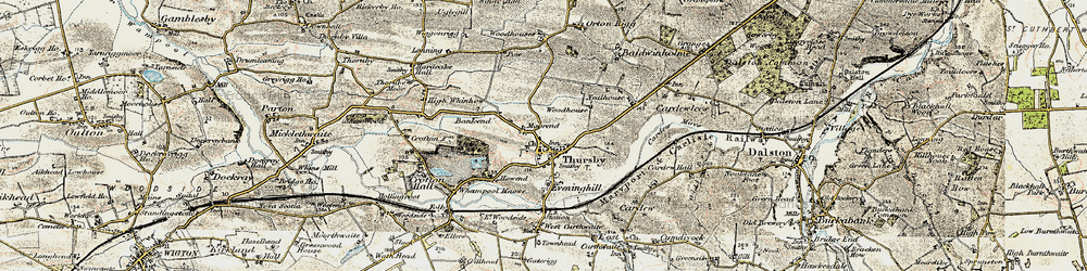 Old map of Thursby in 1901-1904