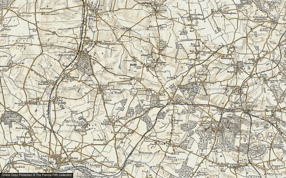 Old Map of Thursford Green, 1901-1902 in 1901-1902