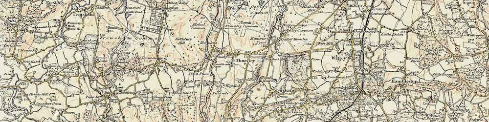 Old map of Thursley in 1897-1909