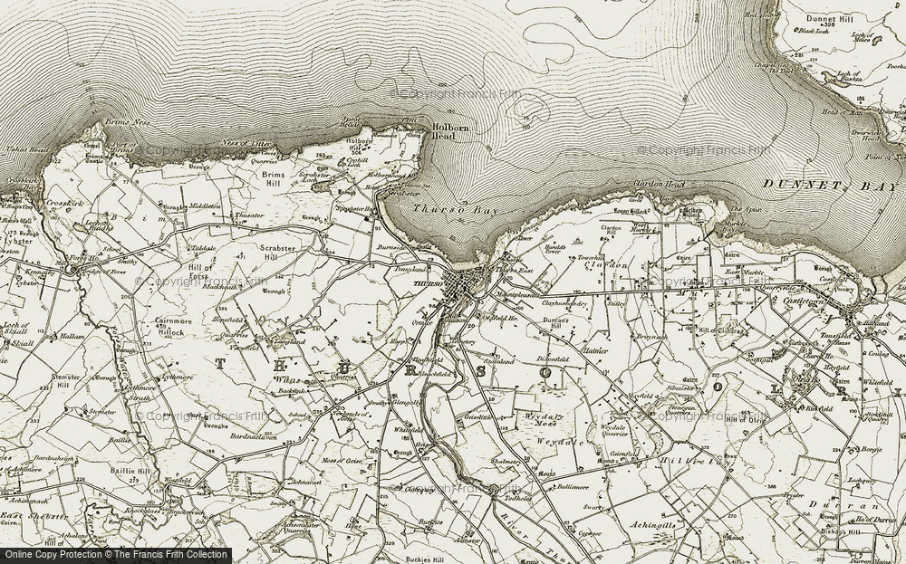 Old Map of Thurso, 1912 in 1912