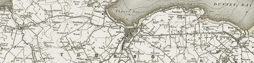 Old map of Thurso in 1912