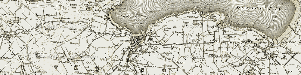 Old map of Thurso East in 1912