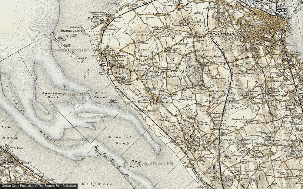 Old Map of Historic Map covering Thurstaston Common in 1902-1903