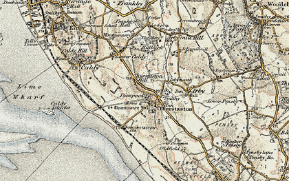 Old map of Thurstaston Hill in 1902-1903