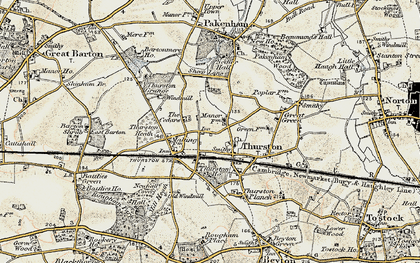 Old map of Thurston in 1899-1901
