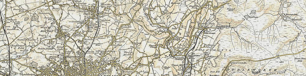 Old map of Thurston Clough in 1903