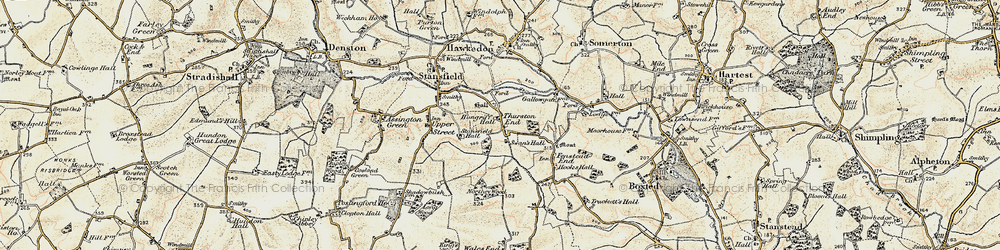 Old map of Thurston End in 1899-1901