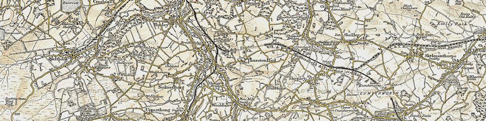 Old map of Thurstonland in 1903
