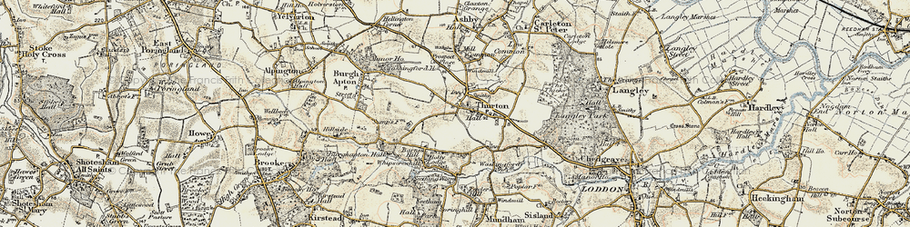 Old map of Thurton in 1901-1902