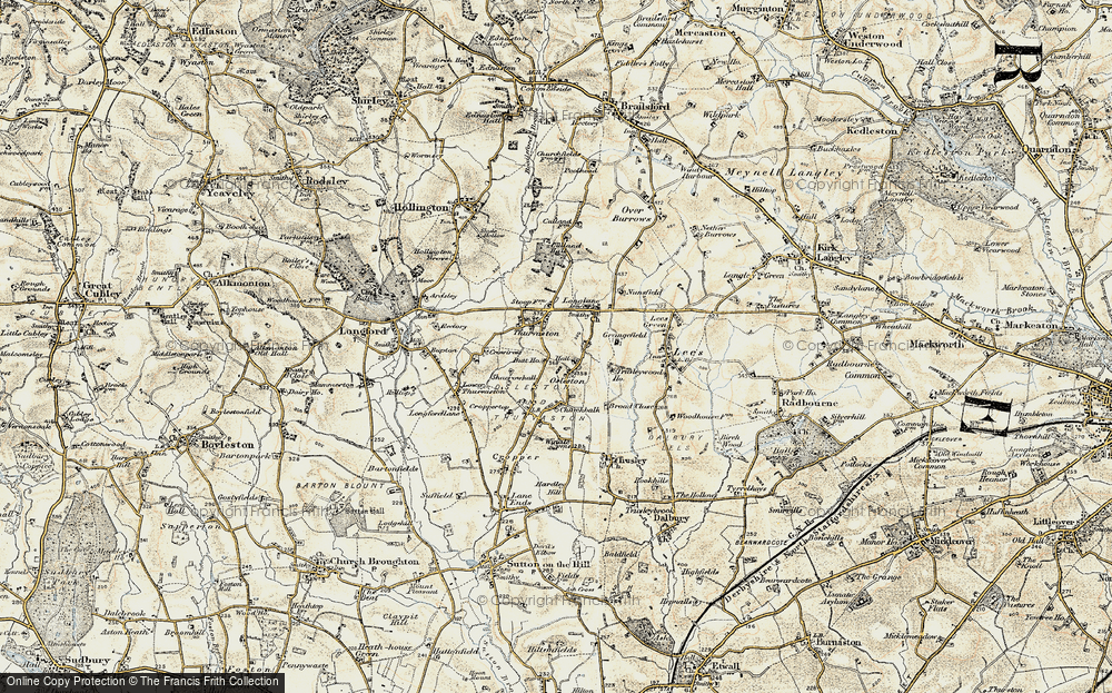Old Map of Thurvaston, 1902 in 1902
