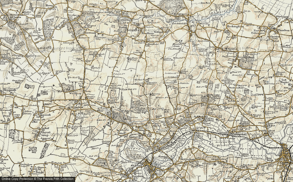 Old Map of Historic Map covering Tindall Hall in 1901-1902