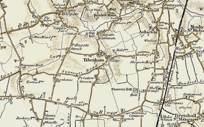 Old map of Tibenham in 1901-1902