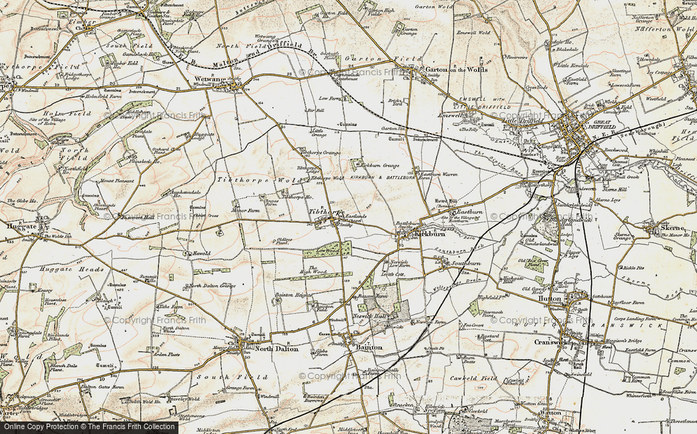 Old Map of Historic Map covering Tibthorpe Manor in 1903-1904