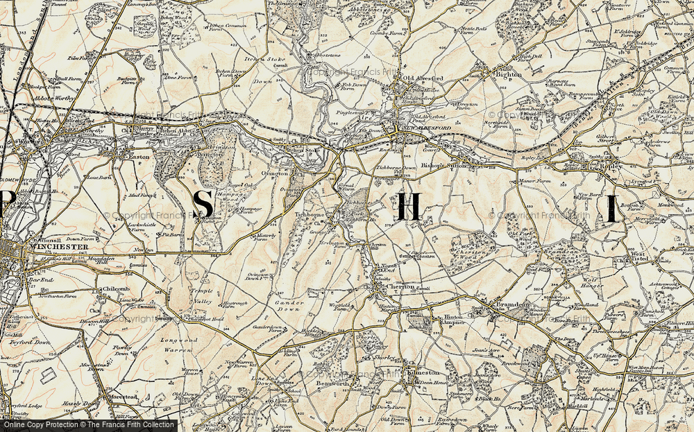 Old Map of Historic Map covering Tichborne Park in 1897-1900