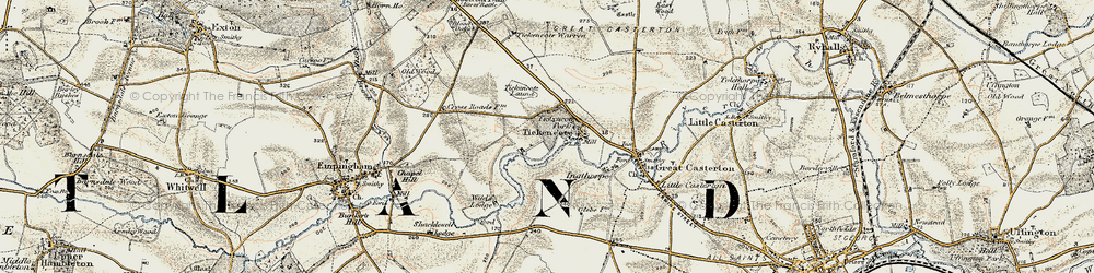 Old map of Tickencote in 1901-1903