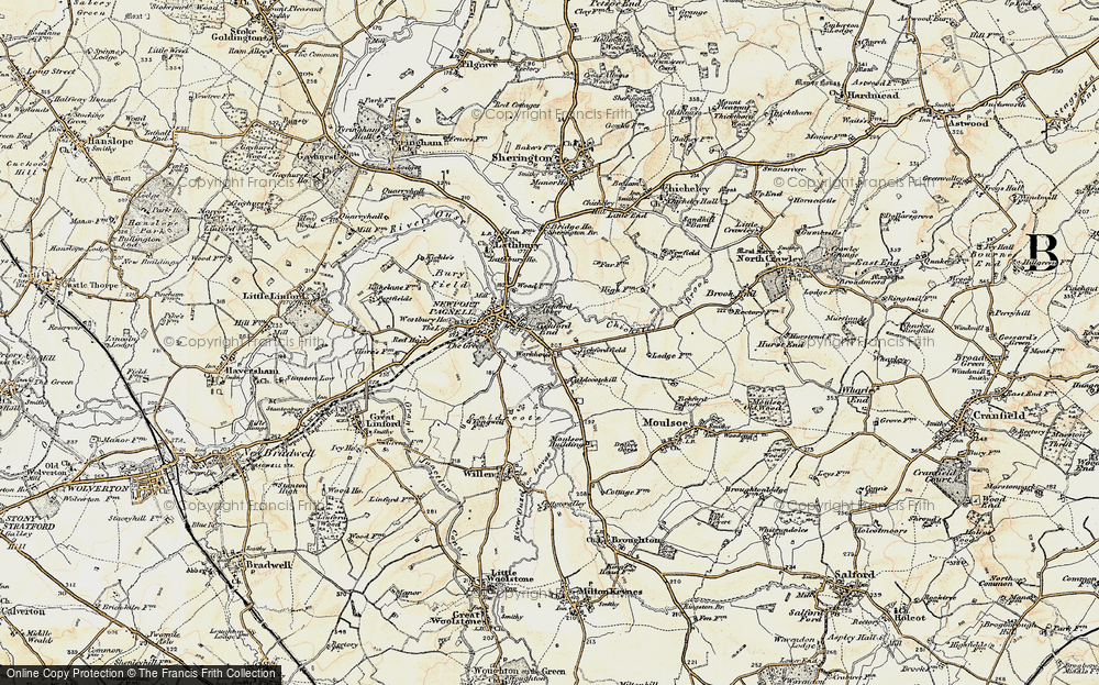 Old Map of Tickford End, 1898-1901 in 1898-1901