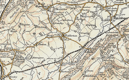 Old map of Ticklerton in 1902-1903