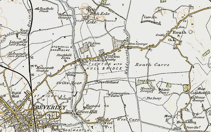 Old map of Tickton in 1903-1908