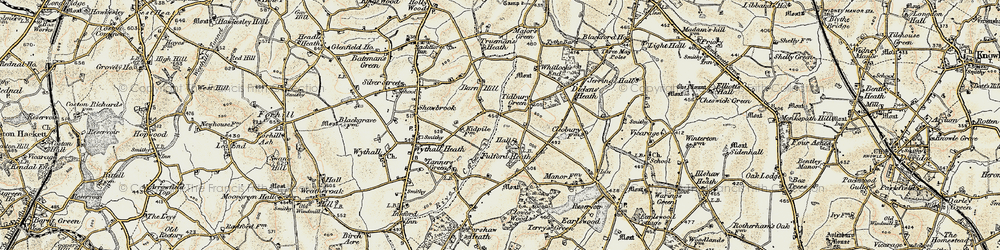 Old map of Tidbury Green in 1901-1902