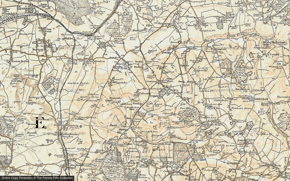 Old Map of Historic Map covering Tidcombe Down in 1897-1899