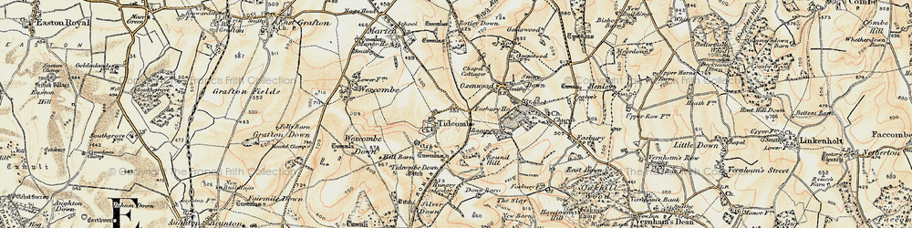 Old map of Tidcombe in 1897-1899