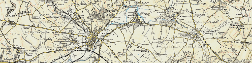 Old map of Tiddington in 1899-1902