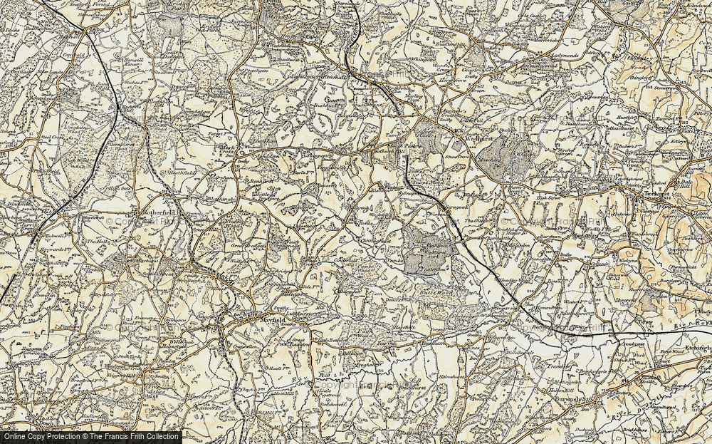 Old Map of Historic Map covering Tidebrook Manor in 1898