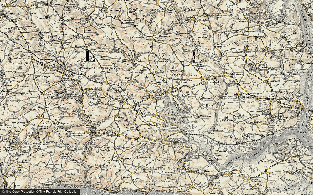 Old Map of Historic Map covering Lantallack Cross in 1899-1900