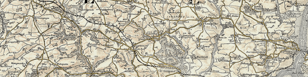 Old map of Lantallack Cross in 1899-1900